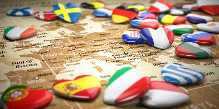 map of europe and hearts with flags of european co TVUMX5X