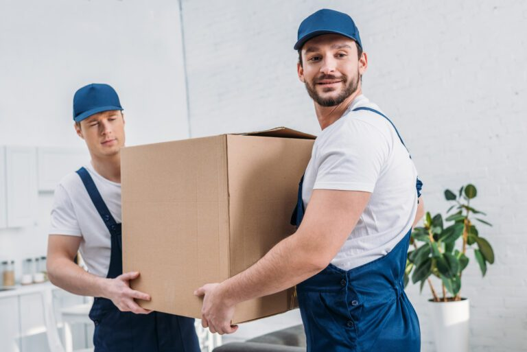 two handsome movers transporting cardboard box in ER3BXQS